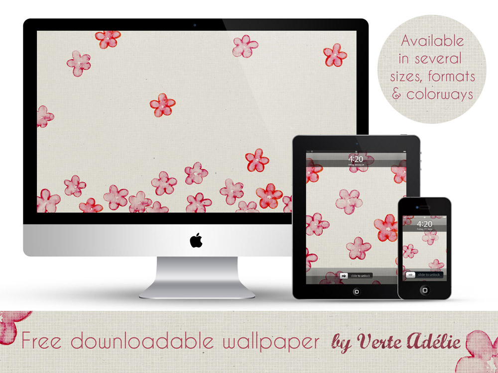 Free downloadable wallpaper: watercolor flowers