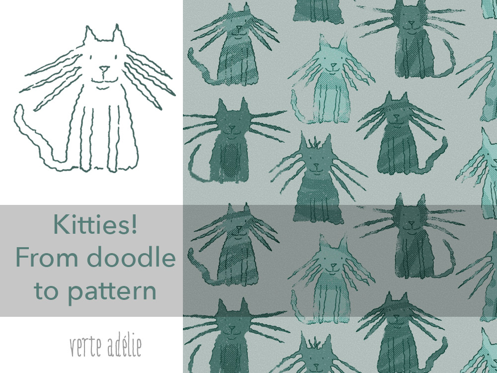A cat pattern inspired by a one-line doodle