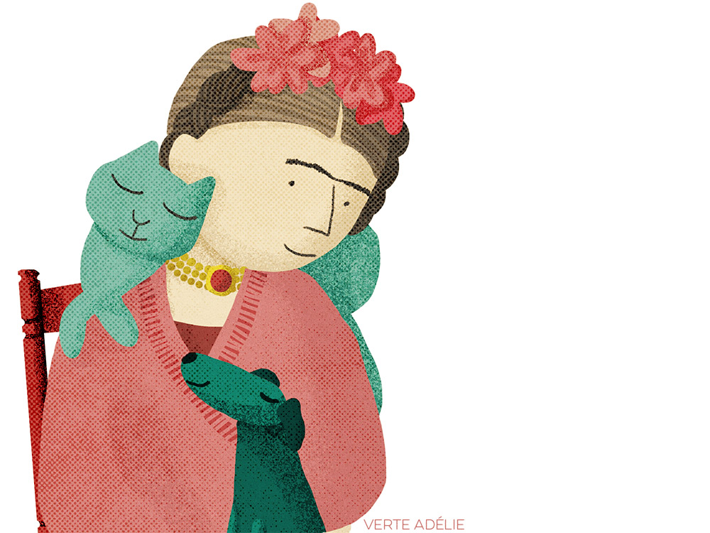 Illustration: Frida Kahlo and pets