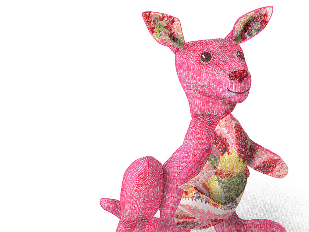 A pink kangaroo in colored pencil Photoshop brushes